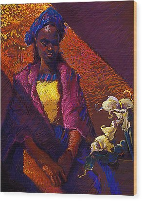 Woman With Calla Lilies Wood Print by Ellen Dreibelbis