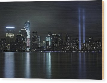 Wood Print featuring the photograph World Trade Center Memorial Lights by Michael Dorn