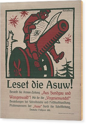 World War I, German Poster Shows Wood Print by Everett