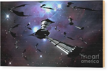 Xeelee Nightfighters, Inspired Wood Print by Rhys Taylor