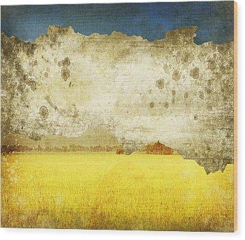 Yellow Field On Old Grunge Paper Wood Print by Setsiri Silapasuwanchai