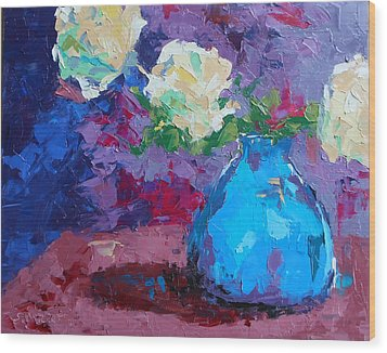 Yellow Roses In A Blue Vase Wood Print