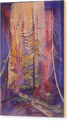 Yellowstone Fire Wood Print by Pati Pelz