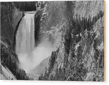 Yellowstone Waterfalls In Black And White Wood Print by Sebastian Musial
