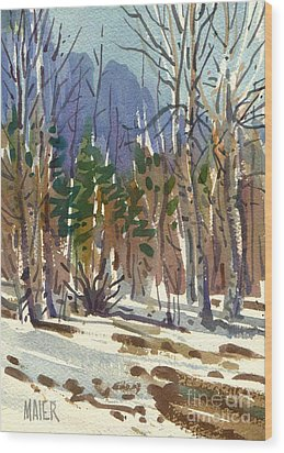 Yosemite Valley In Winter Wood Print by Donald Maier