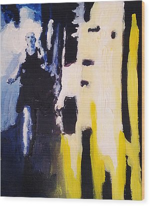 Wood Print featuring the painting Young Running Female Cityscape In Blue And Yellow by M Zimmerman
