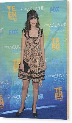 Zooey Deschanel At Arrivals For 2011 Wood Print by Everett