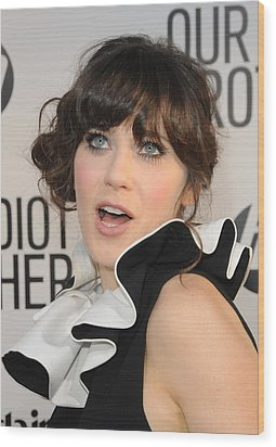 Zooey Deschanel At Arrivals For Our Wood Print by Everett