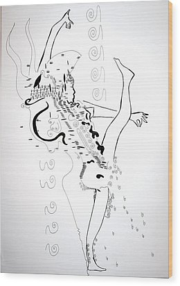 Wood Print featuring the drawing Zulu Dance - South Africa by Gloria Ssali