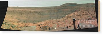 Panoramic View Of Mars Wood Print by Stocktrek Images