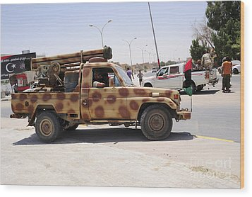 A Free Libyan Army Pickup Truck Wood Print by Andrew Chittock