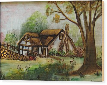 1128b Cottage Painted On Top Of Gold Wood Print by Wilma Manhardt