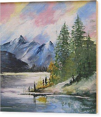 1131b Mountain Lake Scene Wood Print by Wilma Manhardt