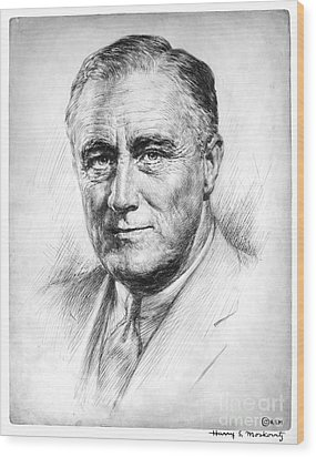 Franklin Delano Roosevelt Wood Print by Granger