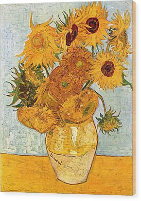 12 Sunflowers In A Vase Wood Print by Sumit Mehndiratta