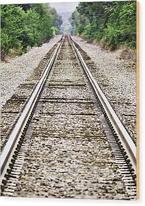 1207-9507 Train Tracks At Knoxville Wood Print by Randy Forrester