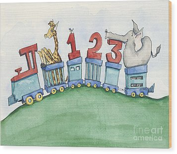 123 Animal Train Wood Print by Annie Laurie