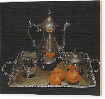 15 Oranges Wood Print by Sherry Robinson