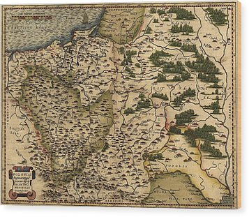 1570 Map Of  Poland. Polands Political Wood Print by Everett