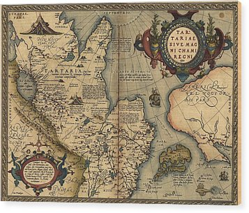 1570 Map Of Tartaria Spanning All Wood Print by Everett
