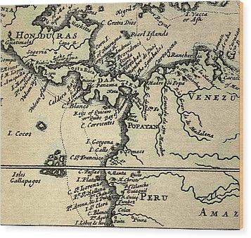 1698 W. Dampier Pirate Naturalist Map Wood Print by Paul D Stewart