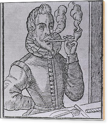 16th Century Dutchman Smoking Wood Print by Everett