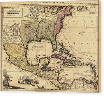 1710 Dutch Map Of North America Wood Print by Everett