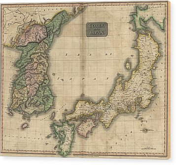 1815 Map Of Japan And Korea, Showing Wood Print by Everett