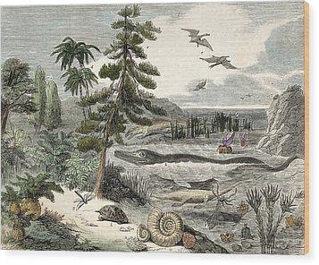 1833 Penny Magazine Extinct Animals Crop Wood Print by Paul D Stewart