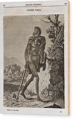 1838 Cave Man Engraving 'l'homme Fossile' Wood Print by Paul D Stewart