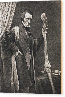 1846 Richard Owen And Moa Leg Fossil Wood Print by Paul D Stewart