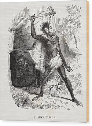 1861 Fossil Man By Boitard Wood Print by Paul D Stewart