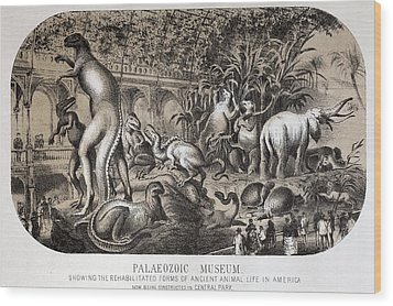 1869 Central Park Dinosaurs Hawkins Full Wood Print by Paul D Stewart
