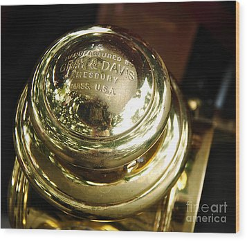 1907 Stanley Steamer - Top View Brass Tail Light Wood Print by Kaye Menner