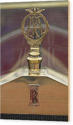 1910 Rolls-royce Silver Ghost Balloon Hood Ornament Wood Print by Jill Reger