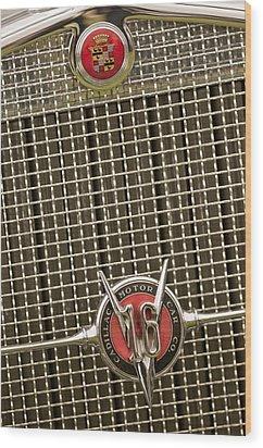 1930 Cadillac 452 Fleetwood Grille Emblem Wood Print by Jill Reger
