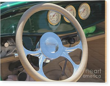 1932 Ford Roadster Steering Wheel And Guages . 5d16176 Wood Print by Wingsdomain Art and Photography