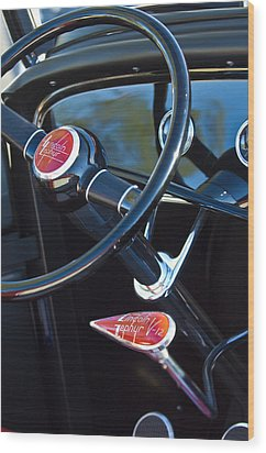 1932 Hot Rod Lincoln V12 Steering Wheel Emblem Wood Print by Jill Reger