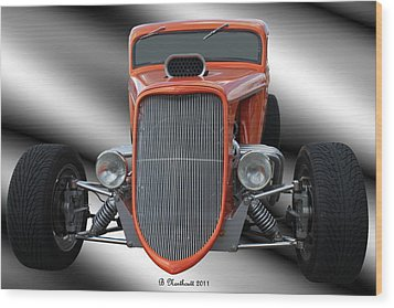 1933 Ford Roadster - Hotrod Version Of Scream Wood Print