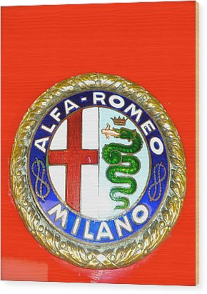 1938 Alfa Romeo 308c Hood Badge Wood Print by John Colley