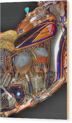 1940 Indian Scout Police Unit Version 1 Wood Print by Ken Smith