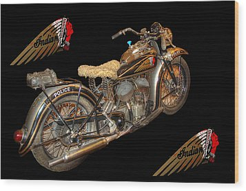 1940 Indian Scout Police Unit Version 3 Wood Print by Ken Smith