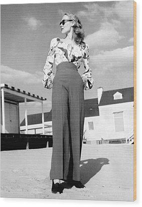 1940s Fashion A Peasant Top Wood Print by Everett