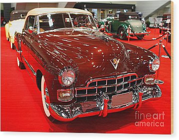 1947 Red Cadillac Convertible . 7d9220 Wood Print by Wingsdomain Art and Photography