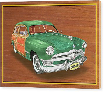 1950 Ford Country Squire Woody Wood Print by Jack Pumphrey