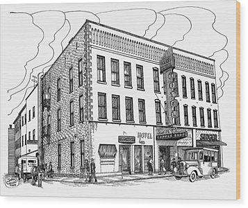 1950 Grand Central Hotel Brockville Wood Print by John Cullen