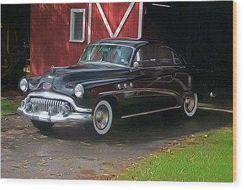 Wood Print featuring the photograph 1952 Buick And Old Barn by Elizabeth Coats