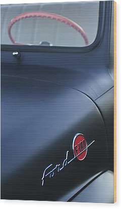 1953 Ford F-100 Pickup Truck Steering Wheel And Emblem Wood Print by Jill Reger