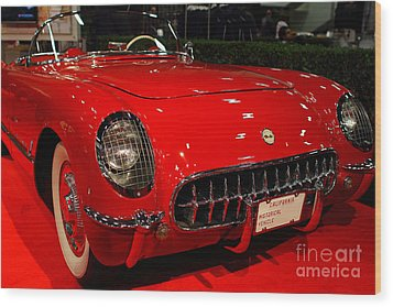 1954 Chevrolet Corvette . Red . 7d9157 Wood Print by Wingsdomain Art and Photography