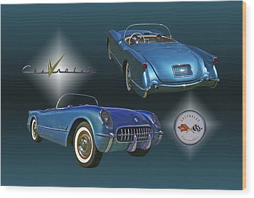 1955 Corvette - 68 Of 700 Built Wood Print by Mike  Capone